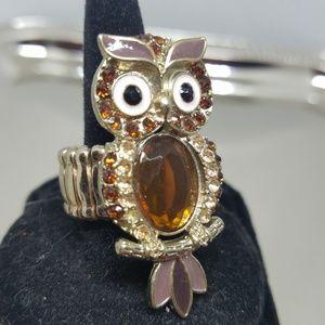 Diamante owl free size ring